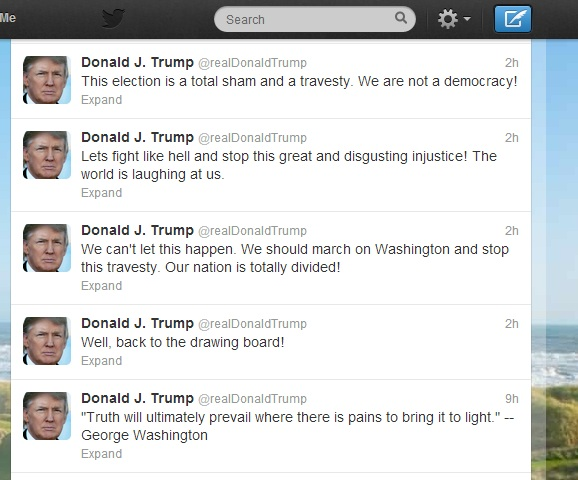 Trump posts irate tweets about election outcome