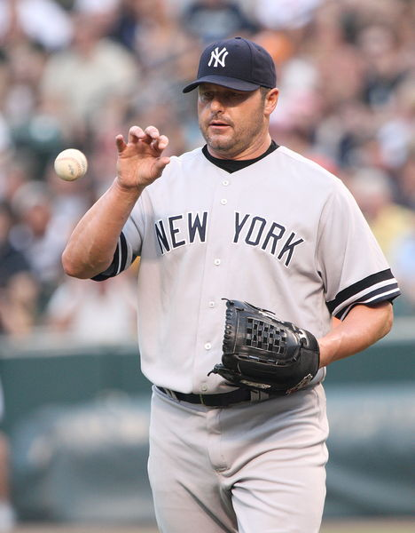 Roger Clemens pitching for the New York Yankees