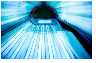 An inside view of a tanning bed.