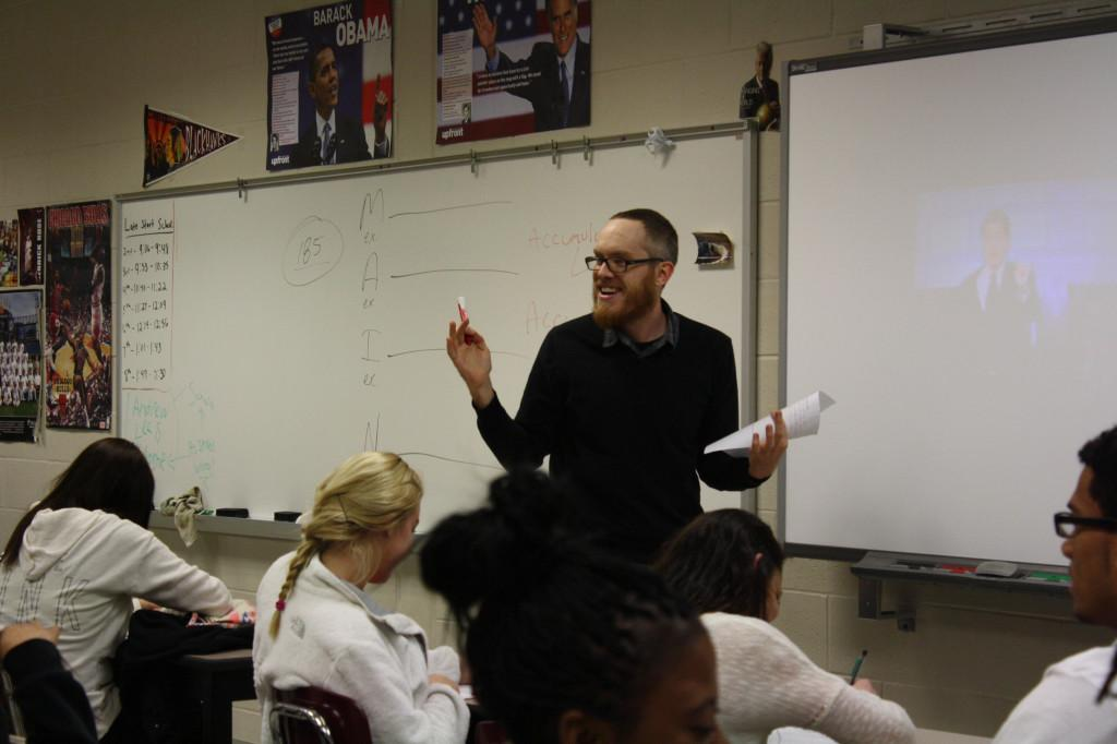 Mr. Robinson leads his 8th hour sociology class in a discussion about whether or not originality exists in modern times.