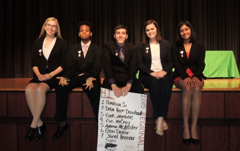 VanAntwerp, Campbell, Moravec, myself, and Penmetcha at the IHSA Regional Speech Tournament at U-High.