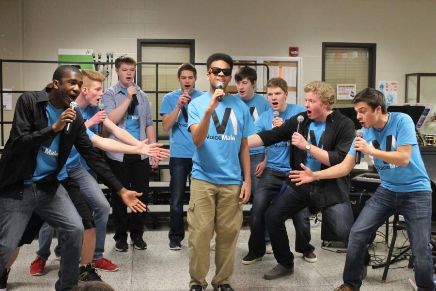 Led by vocalist Mel Campbell (12), acapella group Voice Mail performs Stevie Wonder's classic