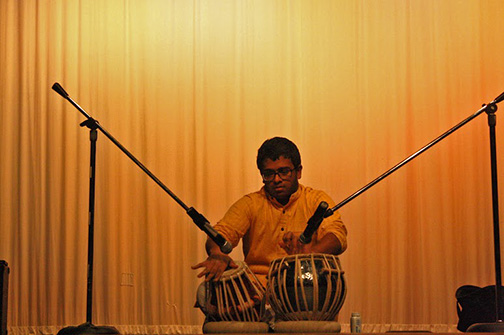 The first of the entertainment acts was Sai Komaragiri who played the tabla, a set of hand drums,  alongside social studies teacher Stefen Robinson.