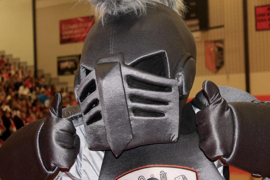 Ike, the Ironmen's mascot shows his school spirit.