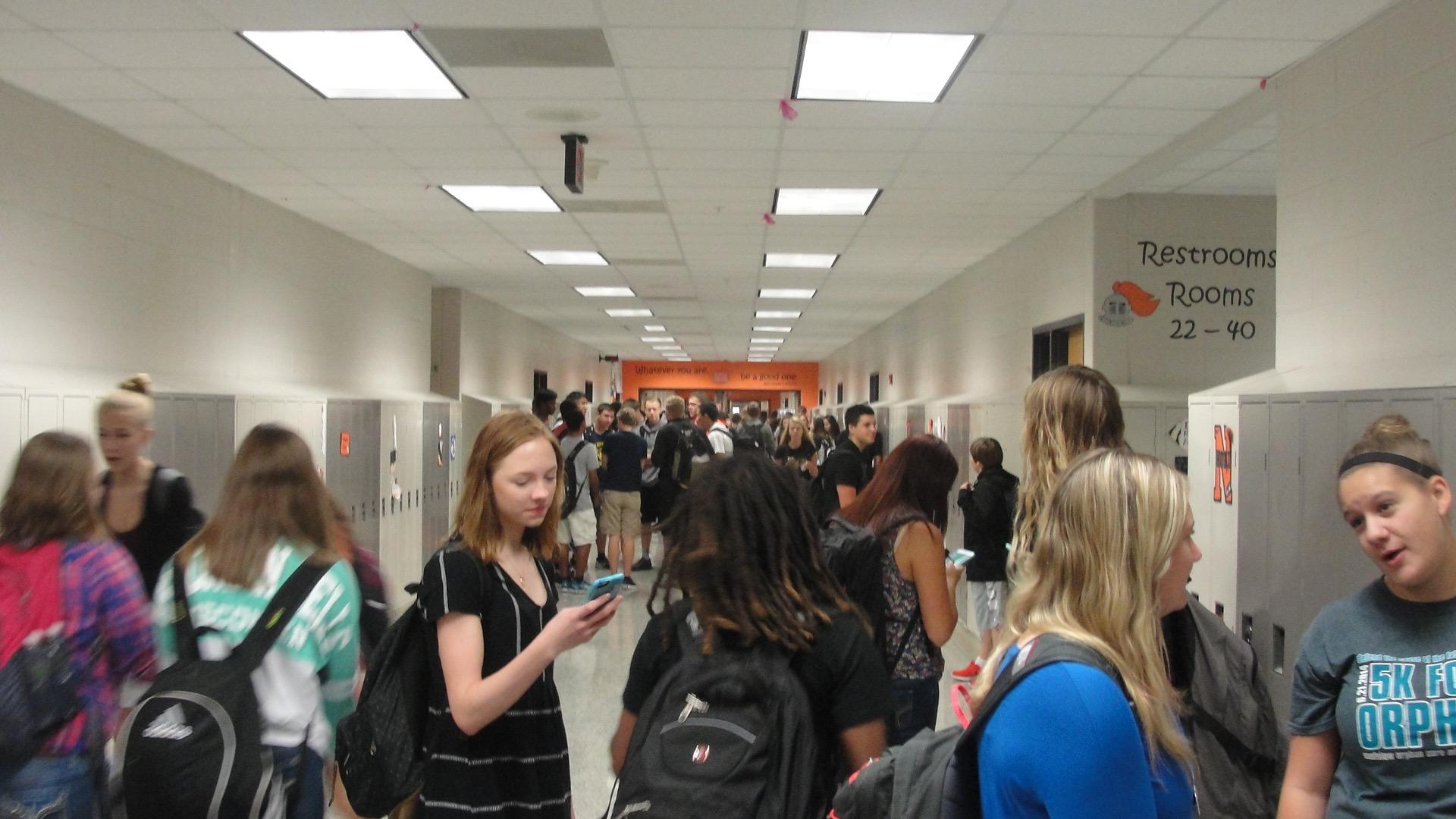 The senior hallway is filled with student before the first bell rings. (Sept. 21-25)