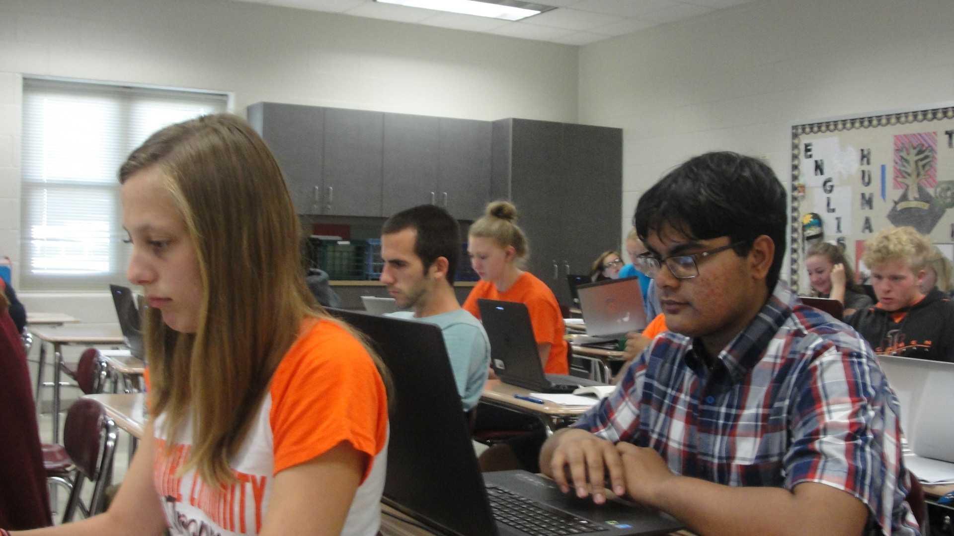 Soumt Lahiri (12) and Kyleakin Helm (12) work hard during AP Literature. (Sept. 21-25)
