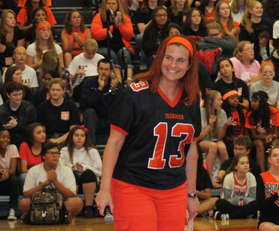 Assistant Principal Nikki Maurer at the Homecoming assembly is all smiles.