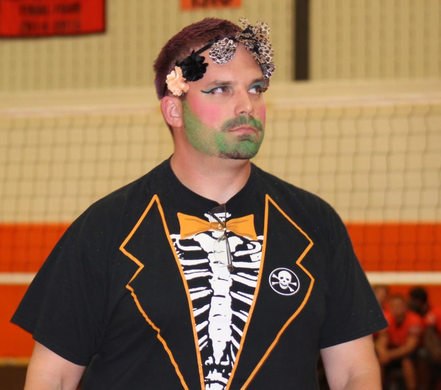 Mr. Michael Roller at the pep assembly with a makeover.