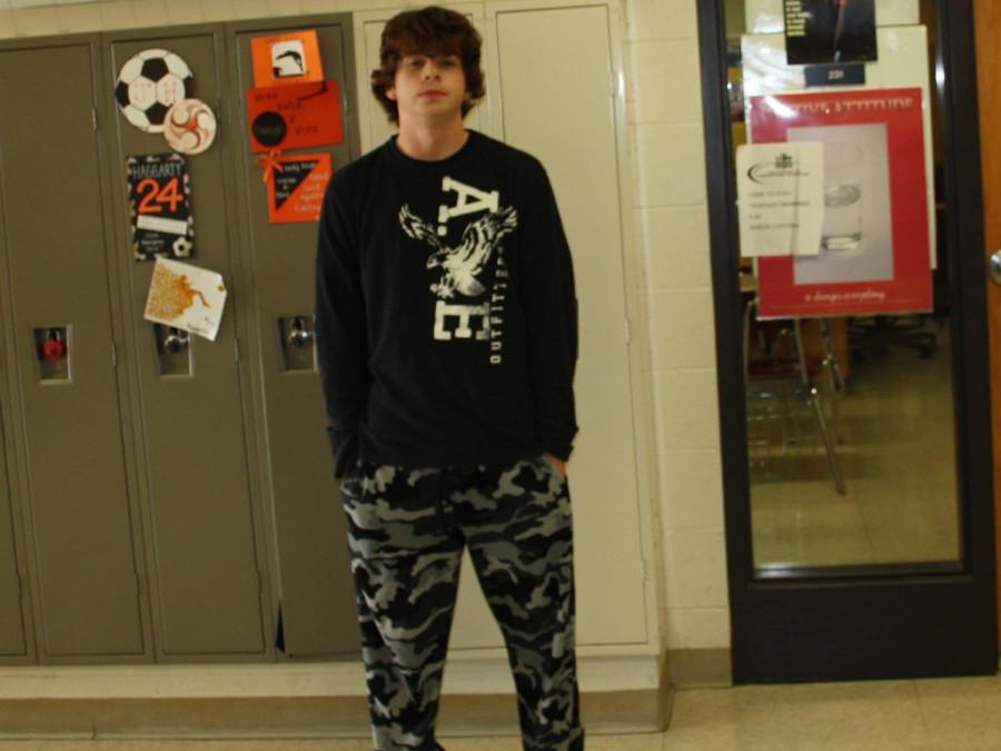 Adam Reinhardt wearing his camo pj's on Pajama Day