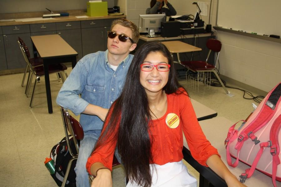 Seth Gifford (12) as Rick Roll guy and Merci Sugai (12) as a character from Bobs Burgers