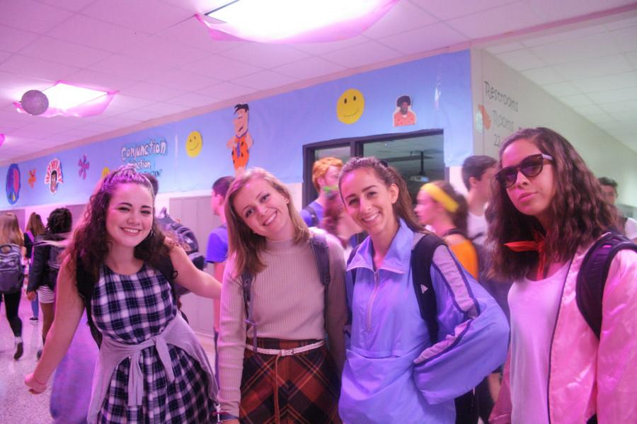 Taylor Railey, Brooke Vogel, Teresa Taflan, and Makayla Villela, all seniors dressed up in styles from different decades