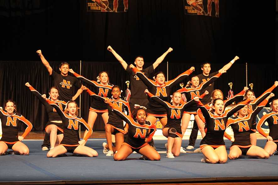 The NCHS cheer squad attempts to engage the crowd - one of the categories teams were judged upon