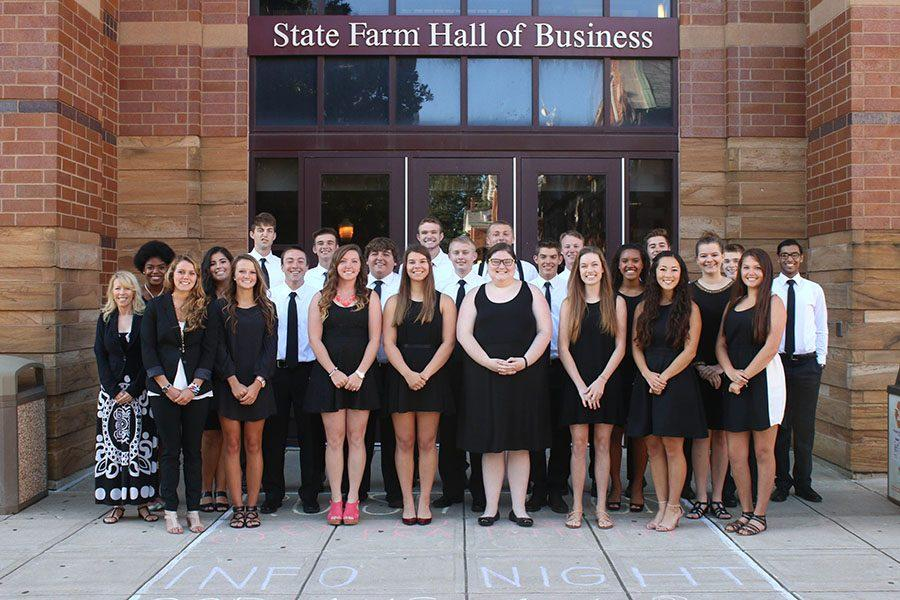 Students began their journey at the State Farm Hall of Business. They met with professors and students from the entrepreneurial studies program