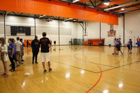 Mr. Lawler and Mrs. Lopez's AP psychology classes get ready to face off in a dodgeball tournament