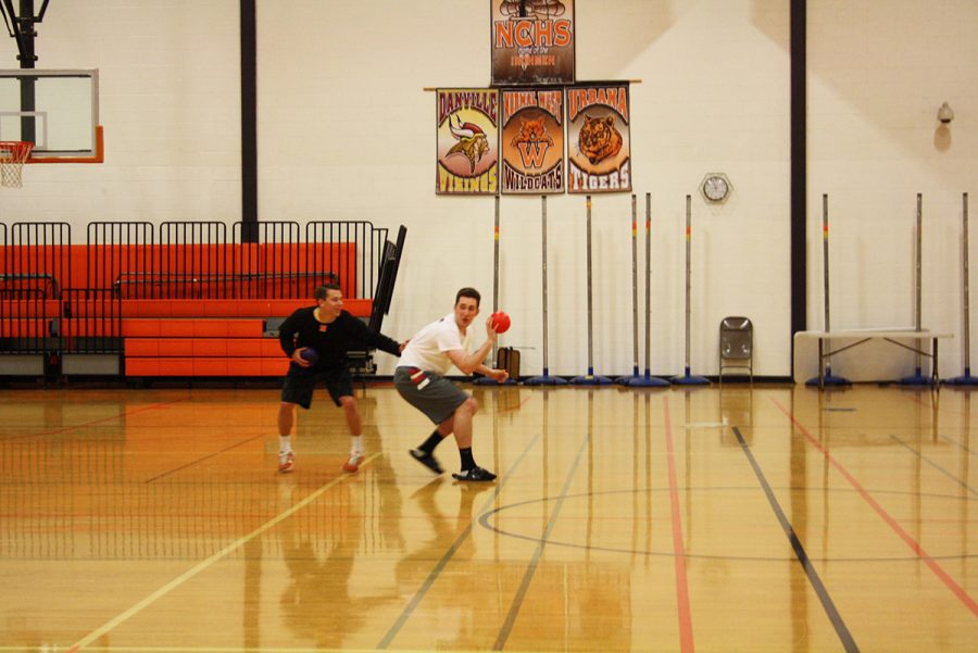Lawler students Dakota Creemens(11) and Myles Smith(11) strategize to try and get Lopez students out of the game.
