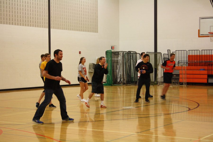 Mr. Lawler gets into the dodgeball tournament to help out his team.