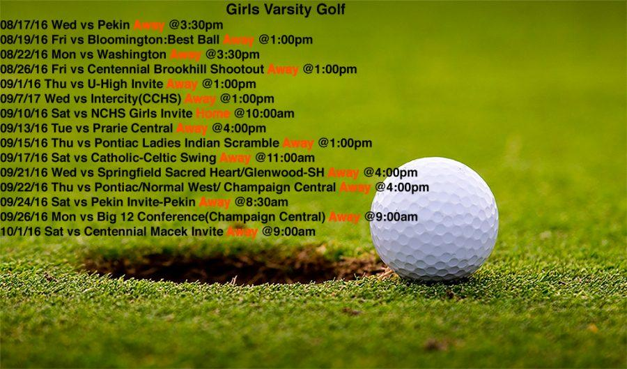 Varsity Girls Golf schedule