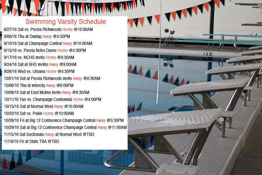 Varsity Swimming and Diving schedule