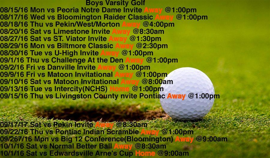Varsity Boys Golf schedule