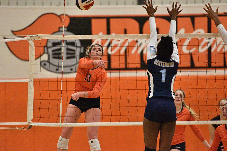 Lady Iron in action against Champaign Centennial during Senior Night on Oct. 11.