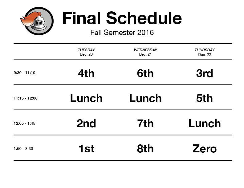 First semester 2016 finals schedule