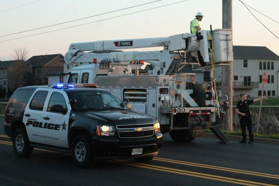 The Normal police, along with several utility trucks, came to the scene.