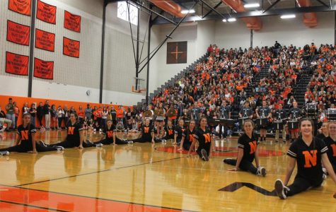Dance team performs with Drumline