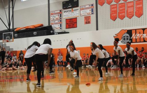Step club performs at Homecoming assembly