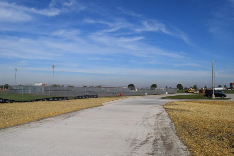 The road connects to NCHS's property by the tennis courts.