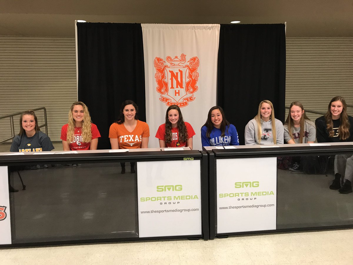 NCHS athletes who signed on Nov. 9 (from left to right): Ashley Klinzing - softball, Parkland. Mackenzie Leonard - softball, Illinois State Univ. Grace Ariola - swimming, Texas. Julia Oostman - swimming, Illinois State Univ. Claire Koh - swimming, St. Louis Univ.  Makenna Barnhart - volleyball, U of Indianapolis. Peyton Kelley - volleyball, Belmont.   Grace Cleveland -  volleyball, Purdue.