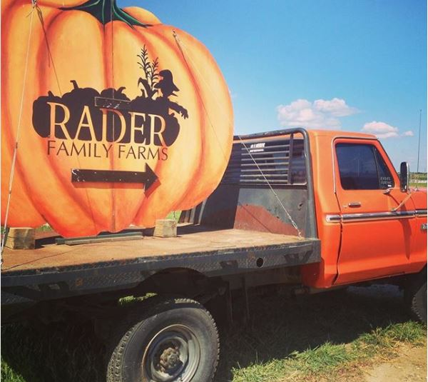 The sign to Rader Family Farms - a popular fall destination in McLean County.