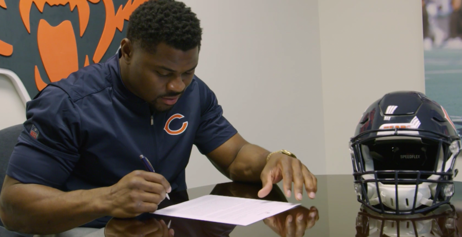 Khalil Mack signing his new deal, making him the highest paid defensive player in NFL history.