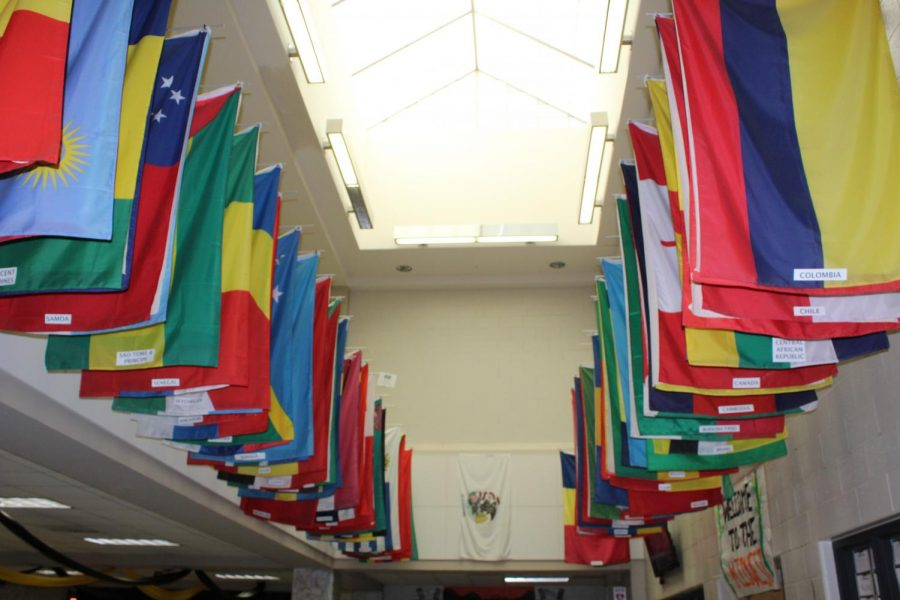 Although the flags in the atrium have hung for over 10 years, they are often overlooked and unrecognized by students.