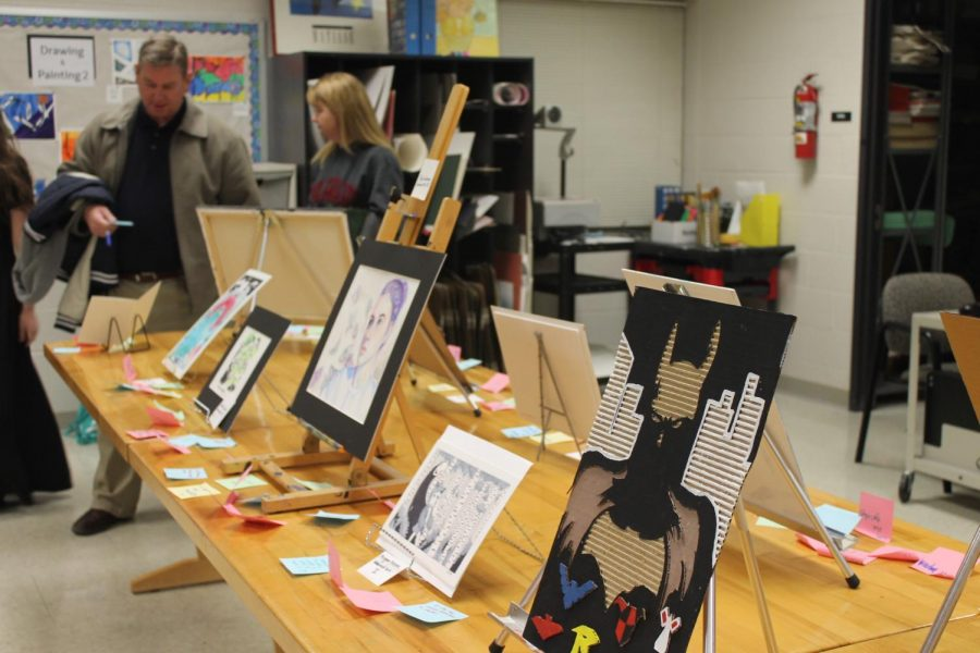 Student artwork displayed at art showcase