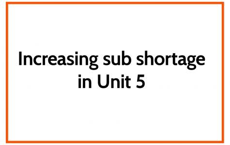 Increasing sub shortage in Unit 5