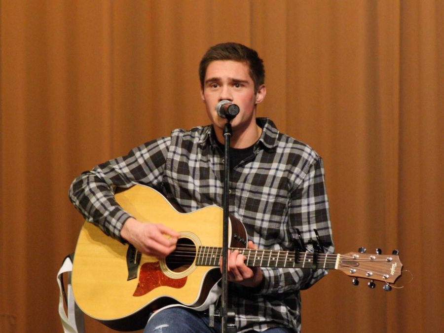 Cooper Smith, class of 2017, performs in Iron's Got Talent during his senior year.