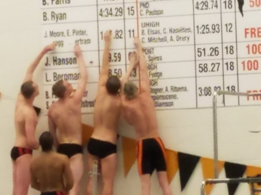 The 200 freestyle relay team removed the names of the prior record holders - Jack Moore, Erik Pinter, Jeremy Gregg and Jake Bertram - during their first practice after breaking the eight-year-old record.