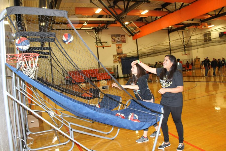 If students weren't wanting to play basketball on the big hoops, mini-basketball shoot out games were provided.