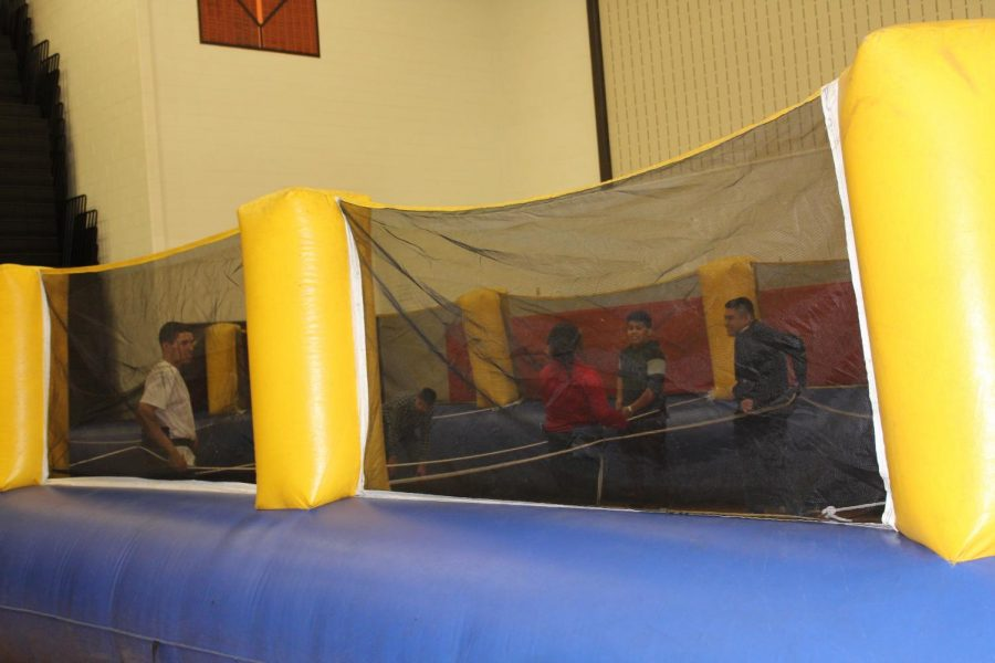 Students were entertained by playing in multiple inflatables.