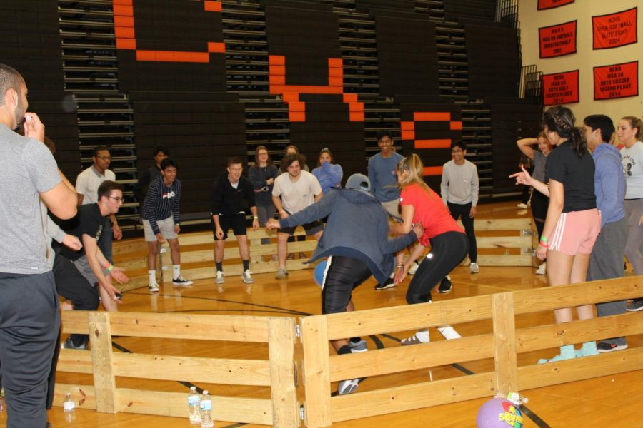 Gaga ball was very popular and competitive throughout the night.