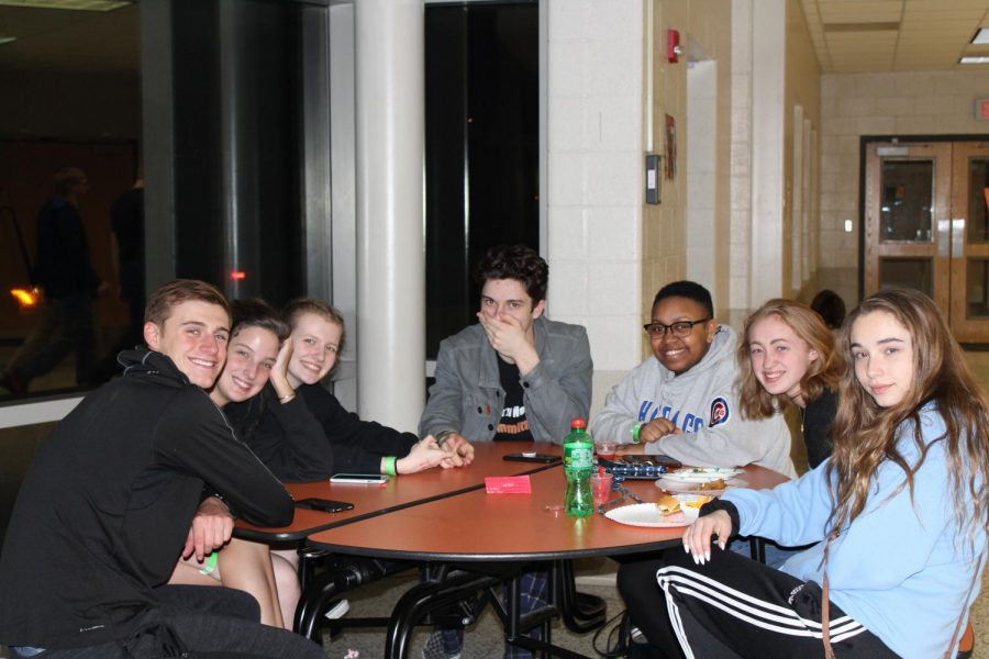 Students pose for a picture while they hung out in the Fishbowl.