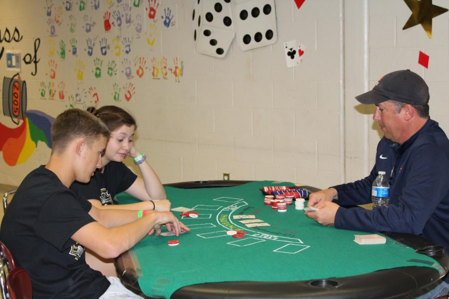 Poker was a big hit at After-Prom.  Students were able to play with groups up to four or five.