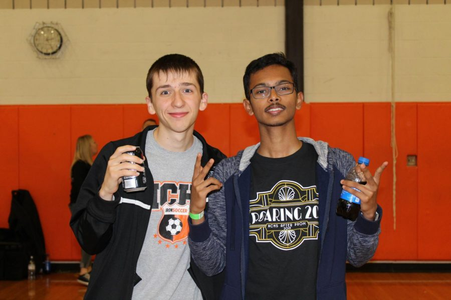 Students pose in the big gym for a picture waiting to see if they won any prizes.