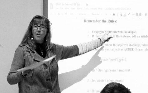Mrs. Cheryl Koth of the Foreign Language department teaches a French class the grammatical rules of the language. Koth's time in front of the classroom is winding down as she is set to retire from a 22 year teaching career at the end of the semester.