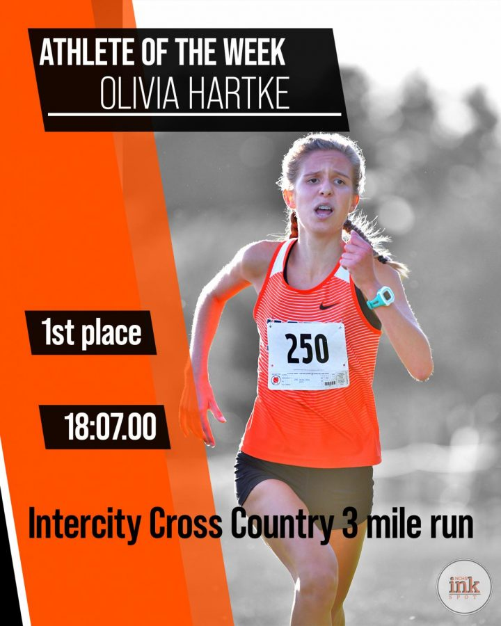 Olivia Hartke (22) ahead of the pack in the Intercity cross country 3 mile run. Hartke would win the race and lead her team to the Intercity title.