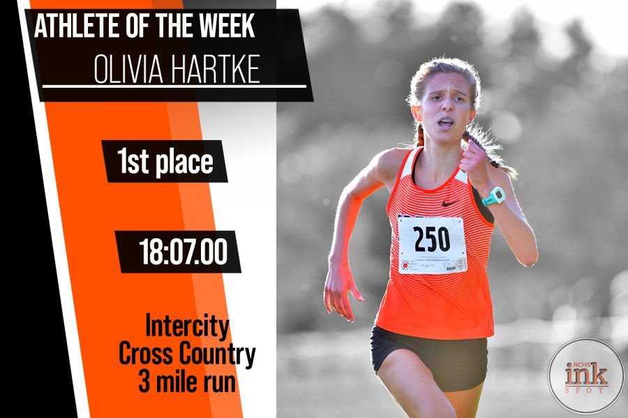 Olivia Hartke ('22) ahead of the pack in the Intercity cross country 3 mile run. Hartke would win the race and lead her team to the Intercity title.
