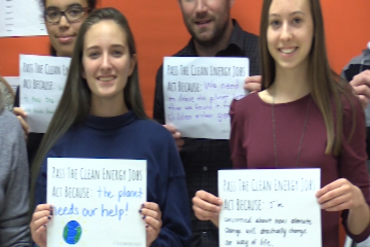 Members of the Peace & Justice club identified the reasons they are interested in clean energy.