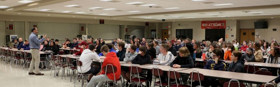 Students and parents from all three high schools gathered in  the NCHS cafeteria on Thursday, December 5 to learn more about the BNL co-op.