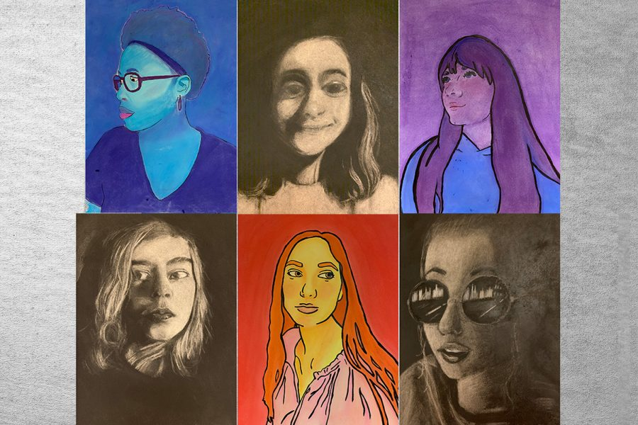 Students in Mrs. Jennifer Kelly's Drawing & Painting II and Advanced Studio Art answer questions about their self-portrait projects.