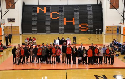 The wrestling team celebrated senior night Tuesday, Jan 28, with festivities before and after a meet versus Olympia.